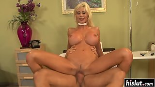 Blonde Bitch with Huge Bosoms Gets Riding Way Rammed in Trimmed Pussy