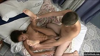 Skinny Brunette Babe Before Rides on Her Partner Cock Give Nice Blowjob