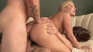 Girls in Naked Making Fun with Handsome Dudes Over Couch