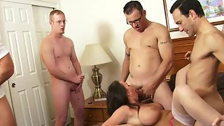 Stunning Girl Getting Fucked by Hunky Dudes in Room
