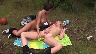 Stunning Lesbian Babes Enjoying Masturbation at Outdoor
