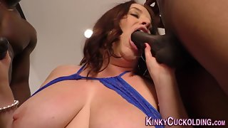 Big Boobs Brunette Sucked Cocks and Merged in Interracial Sex