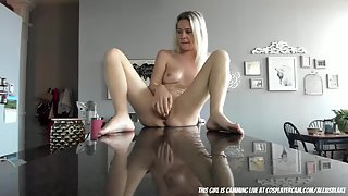 Look how she is masturbating on the counter
