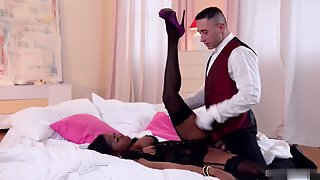 Ebony in Stocking Penetrated Hardly by Hunky Dude