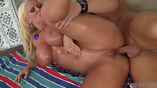 Busty Blonde Getting Fucked by Hunky Man in Spoon Style