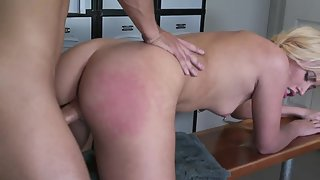 Tiny skinny blonde babe has rough spanking and sex