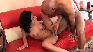 Brunette Getting Fucked by Bald Headed Man Over Couch