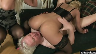 Nikky Thorne Making Lesbian Fun of Pussy Fingering and Anal Fucking with Old Guy