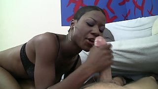 Ebony on Knee Sucking Black Dick and Making Hard for Black Sex