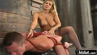 Busty blonde Xana fucks a kinky guy with a strap-on