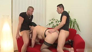 Chubby Lady Giving Blowjob to Two Meaty Dicks before Deep Fucking