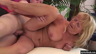 Blonde Granny Enjoys Dildo Pounding and Blowjob with Young Dude