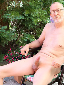 Sitting outdoors naked with my cock out