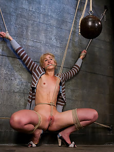 Hot blonde gets tied up and teased with a vibrator