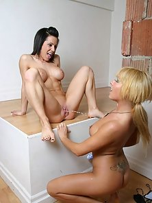 Lesbian enjoys when her girl peeing on her tits