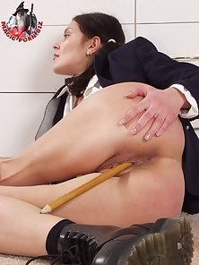 Pigtail Brunette Babe Enjoys Masturbation with Pointed Pencil