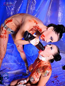 Jessica Jaymes and Sea J Raw play with syrup in fetish romp