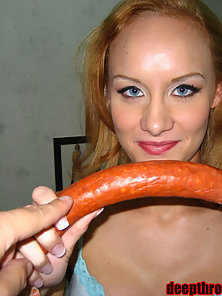 Leah loves the taste of cock and swallows it all
