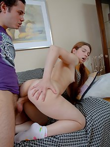 Redhead Fine Chick Gets Huge Slammed in Different Position with Moaning