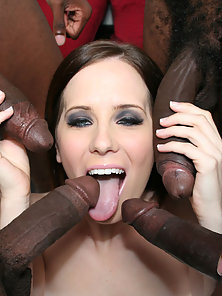 Bubble ass bitch gets on with many black dicks
