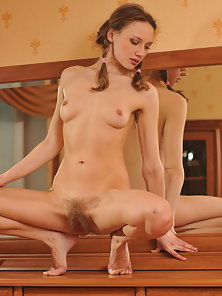 Pigtail Natural Tits Babe Enjoys Posing in Front of Mirror