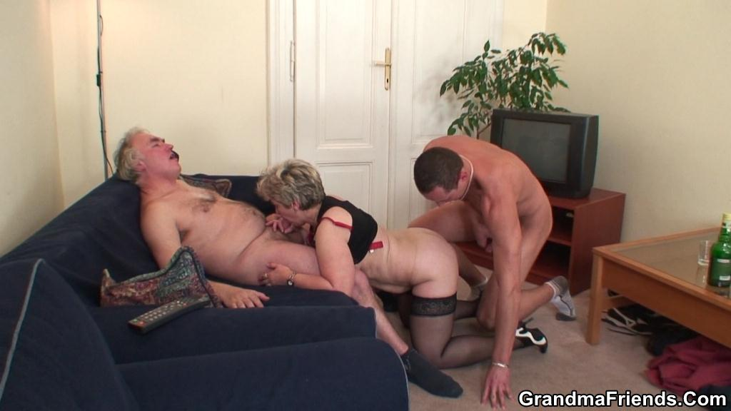 Old Granny Fucked Hard By To Hunky Men in Doggy Style on Couch
