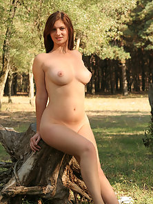 Naughty Naked Slut Showing Shaved Pussy and Perfect Boobs Outdoors