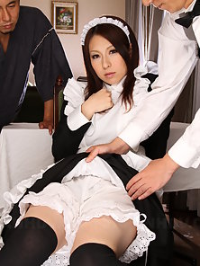 Super cute Asian waitress Himeki Kaede expecting threesome
