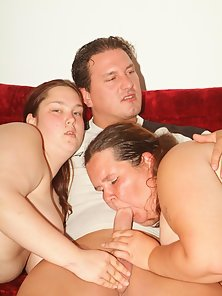 Chubby babes Esther And Ana go for a steamy threesome and pleasure a cock at the same time