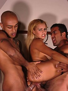 Horny Latina gets impaled hard by two hard dongs