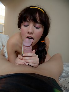 Beauty Pigtail Chick Having Hardcore Sex with a Hunky Man on Bed