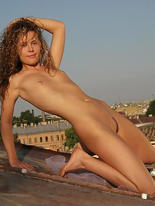 Curly Hair Slut Showing Small Tits and Shaved Pussy Outdoors for Fun