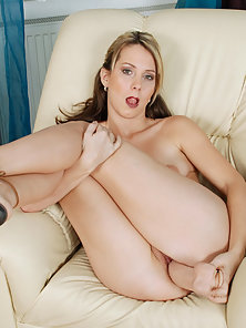 Blonde Chick Puts Huge Dildo in Her Pink Pussy on Couch