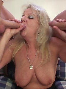 After Blowjob Blonde Hairy Muff Granny Gets Spitroasted Hammered