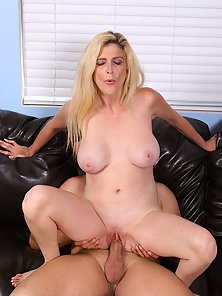 39 year old blonde takes a cock deep in her pussy and throat