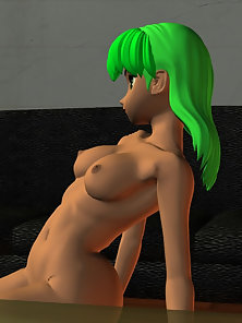 Green Hair Anime Chick Exposes Her Sexy Naked Body in Various Positions