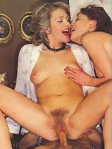 Sensual ladies in vintage threesome scene getting their hairy pussies fucked