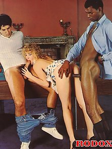Hairy retro lady gets fucked by two studs