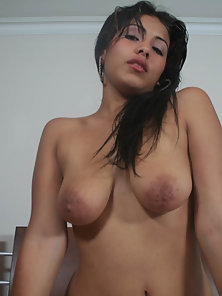 Sexy busty Latina fucks a dick for some cum