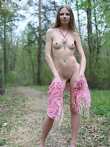 Sexy Girl Outdoors Exposing Skinny Figure and Small Tits