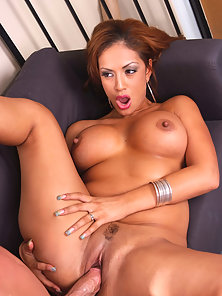 Smoothest Latina ever sucks and rides a massive dong