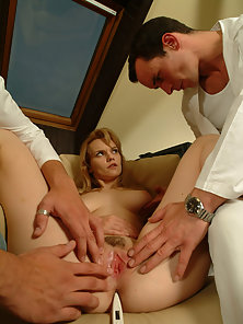 Stunning Blonde Babe Gets Dual Penetrated by Two Dicks