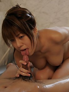 Slutty Asian babe sucks and swallows the cum from a small dick