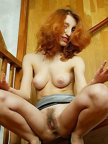 Striptease Redhead Babe Posing on Cam with Her Saggy Muff