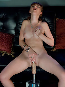 Lusty redhead tries out a fuck machine