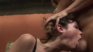 Brunette beauty gets her throat fucked until tasting cum