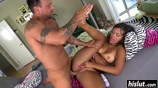 Sexy Ebony Fucked Hard by Her Boyfriend after Sensual Kissing