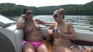 Naughty Naked Babes Nakedly on Boat Playing with Each Other