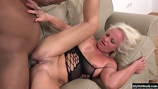 Busty Mature Lady Deep Anal Hammered in Riding Position by Black Dude