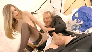 Stocking Blonde Penetrated in Spoon Style Through Asshole